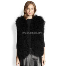 YR684 Open Front Mongolian Sheep Fur Vest Winter Women/Sleeveless Fur Vest
