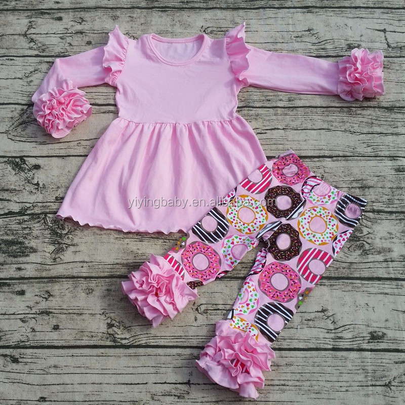 wholesale baby girls boutique Pearl sleeve clothing Valentine Day kids sweet clothes set