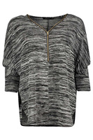 Zip Front Knitted Blouse