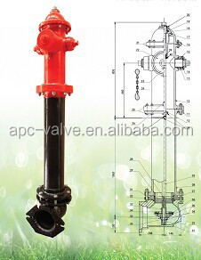 250PSI FM Approved Dry Barrel Underground Fire Hydrant AWWA C502,Pumper Inner Diameter:102mm,Flanged Connection