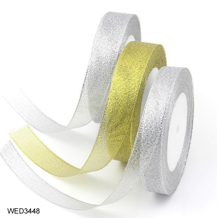 FengRise 25yards Handmade Cake Baking DIY Gift Christmas Gold Silver Series Ribbon