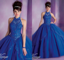 Classic Western style Royal Blue Halter Ball gown dress patterns quinceanera Dresses CYQ-007
