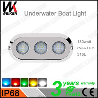 WEIKEN 180w RGB Waterproof IP68 Crees LED Swimming Pool Lights for Boat Yacht Navigation
