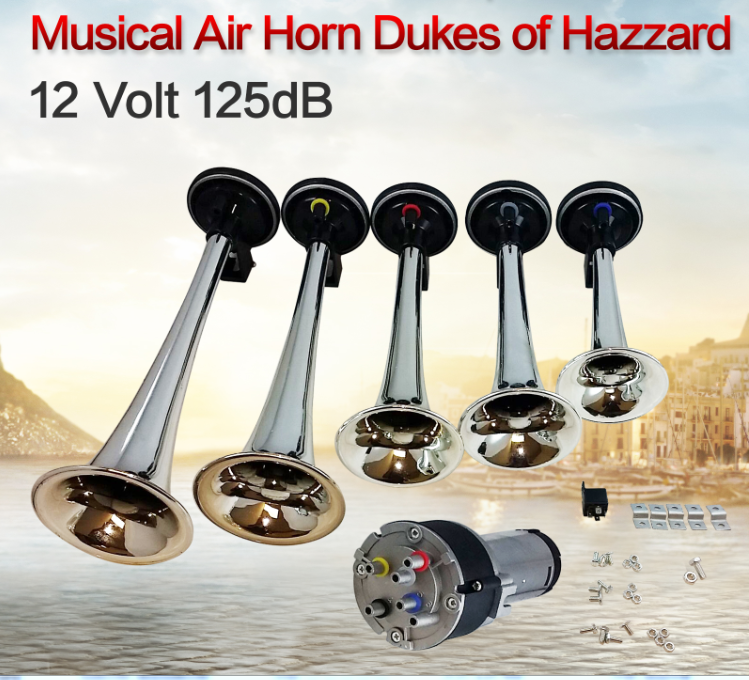5 Trumpets Air Horns Super Loud 12V Car boat motorcyle Dukes of Hazzard Dixie