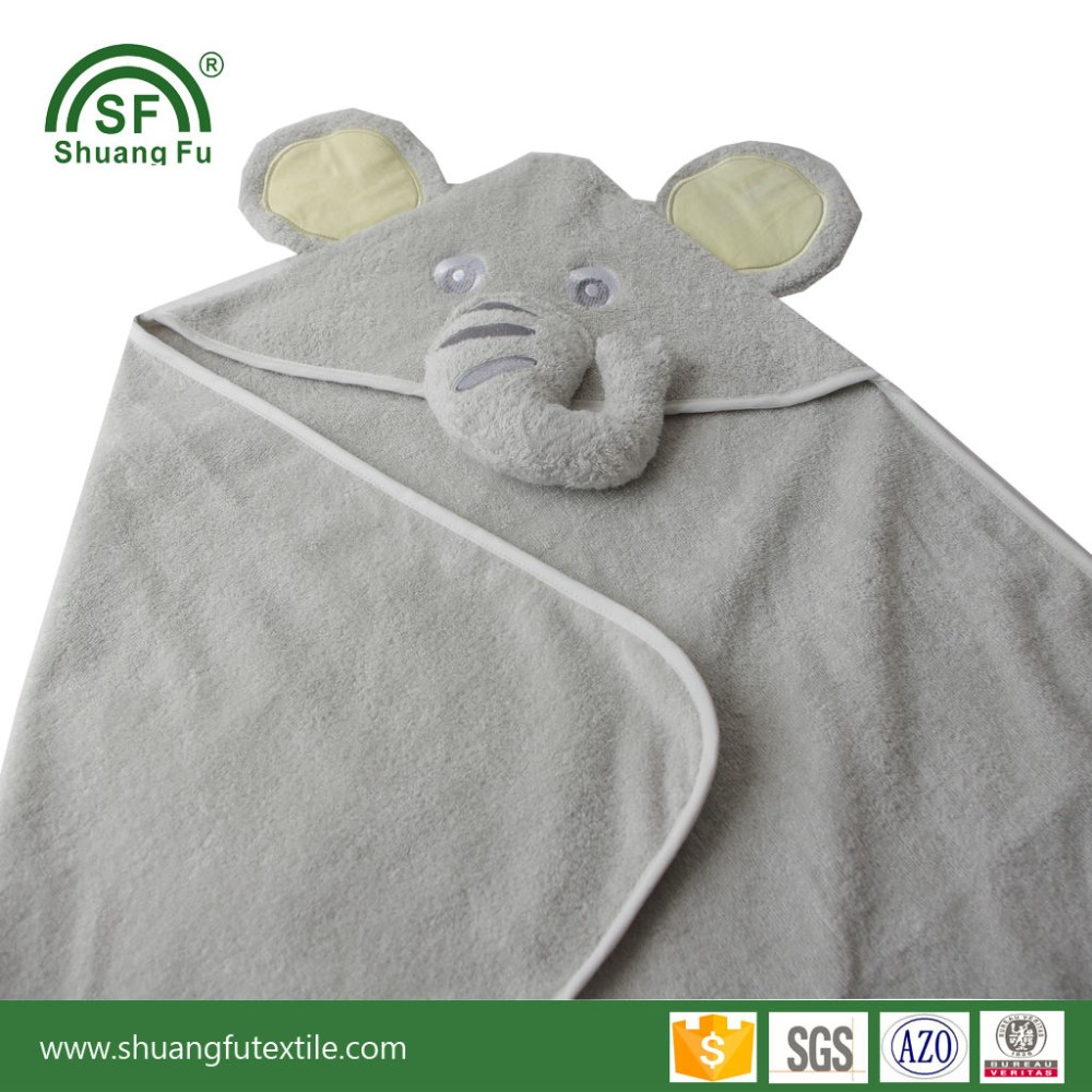 Hot sales customize design 100%cotton animal baby elephant hooded towel