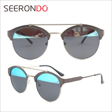 SEERONDO UV400 Metal Sunglasses Women Double Bridege Round Assorted Color Sunglass