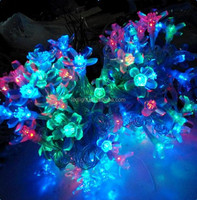 Clear wire 230v connectable RGYB LED cherry petal string fairy light garland for wedding holiday Christmas decoration