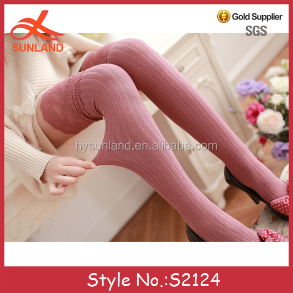 S2124 high quality over the knee cotton boot socks thigh high sexy girl stockings with wide lace top