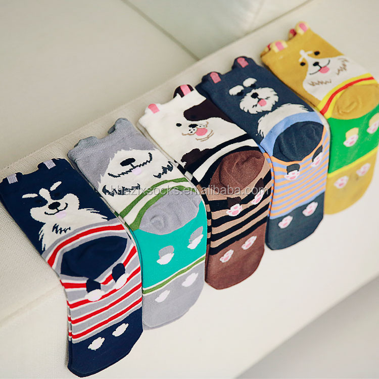Quality wholesale 3d animals dog cartoon women cotton sock for lady girls socks