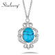 SINLEERY Retro Turkish Natural Stone Pendant Necklace For Women Silver Color Chain Party Jewelry Gifts Xl202