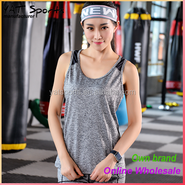 Online wholesale your own brand clothing small MOQ women fitness yoga gym tank top