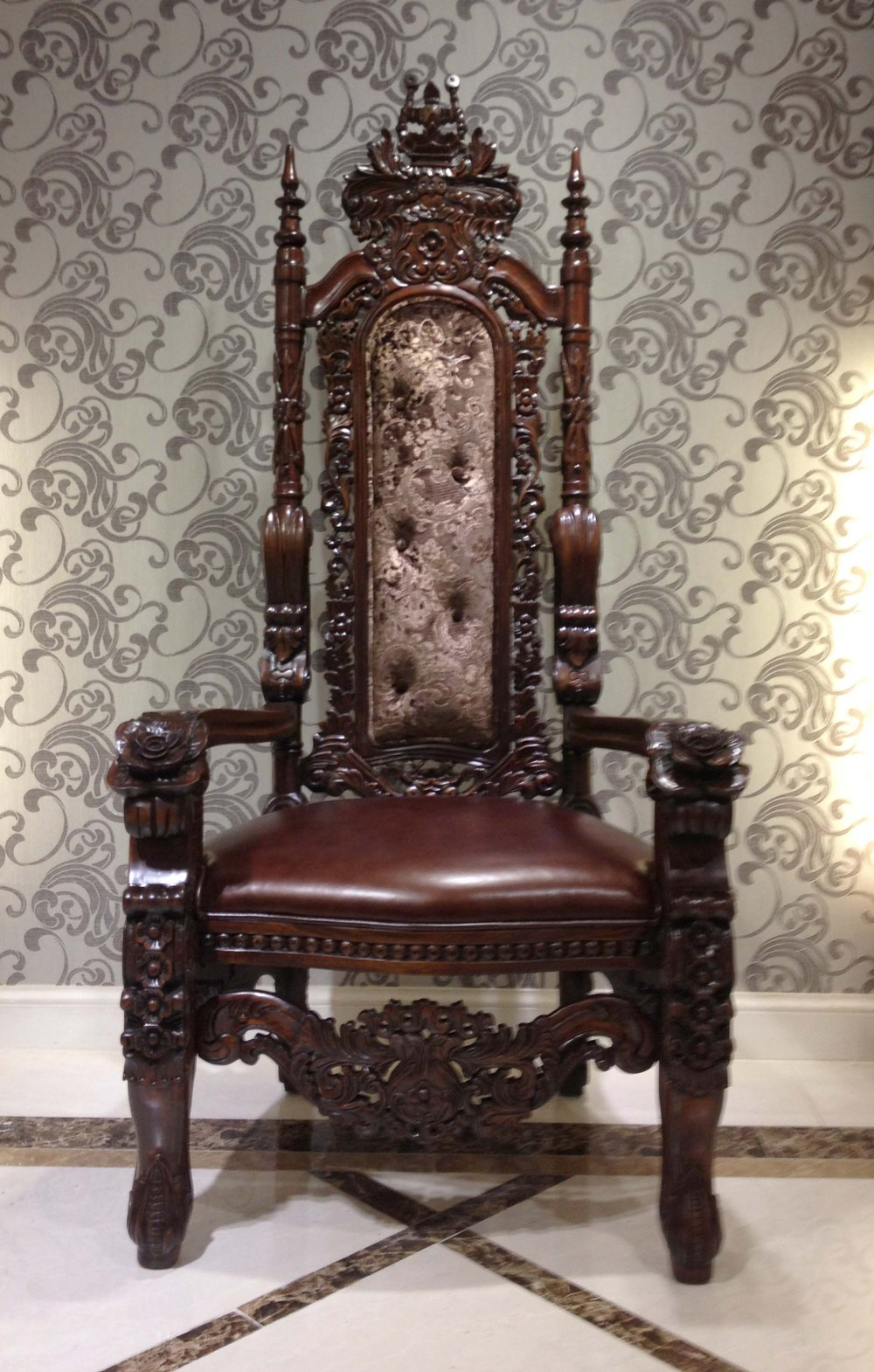 Antique Wooden Carved Chair ~ Luxury gold foil high back sofa chair exquisite wood