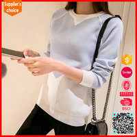 New fashion cashmere blend pullover light blue ladies cashmere sweaters