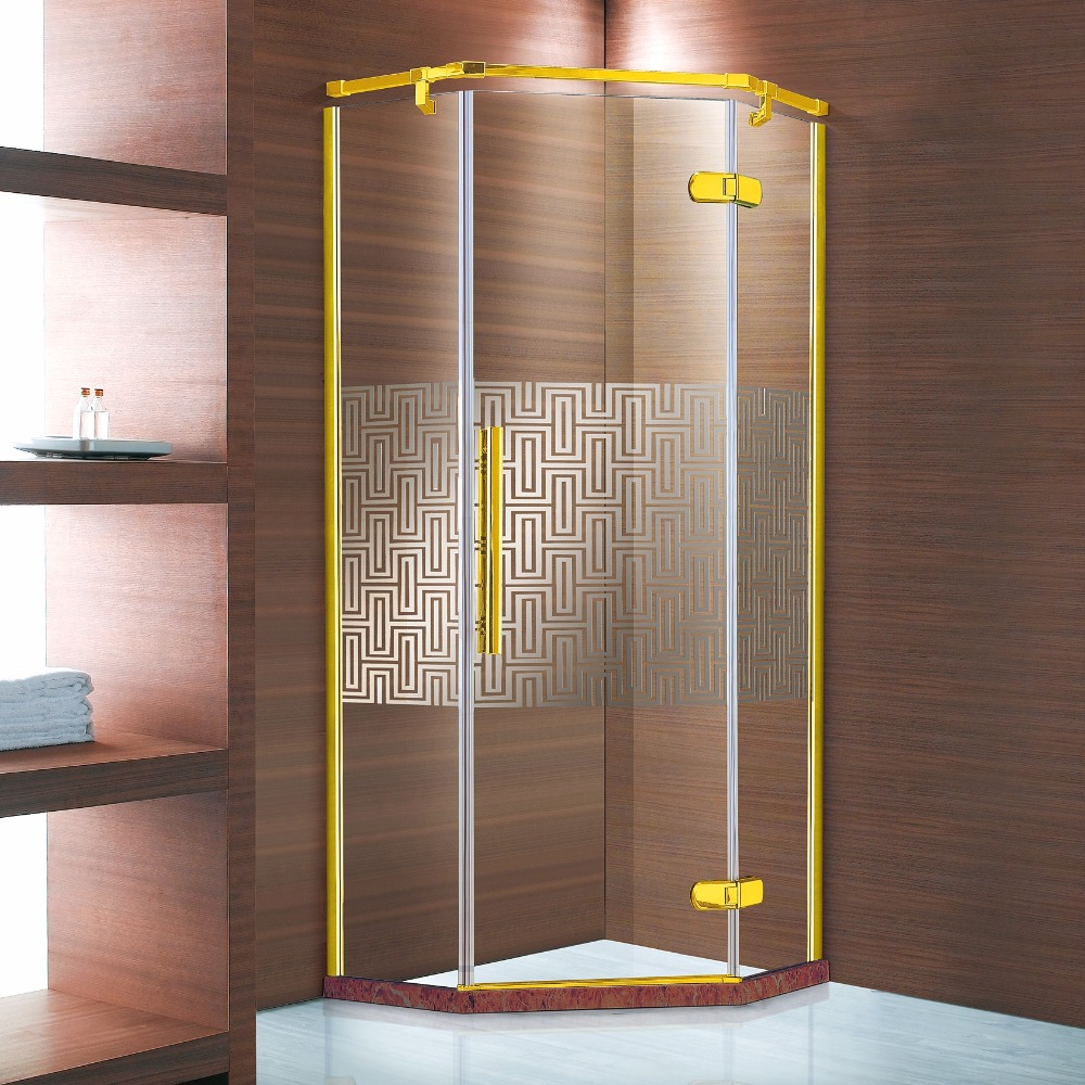 Diamond Shape Hinged Door Shower Enclosure With Golden Color Support Bar/Wall Profiles & Patterned Membrane On Glass(U13D)
