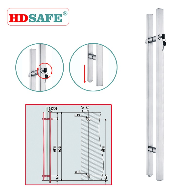Stainless steel commercial glass door lock for home security system