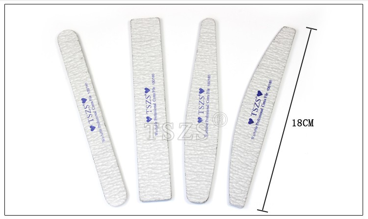 TSZS Korea quality Double-side Nail art Files Grey Straight boat square diamond Nail file 100/180