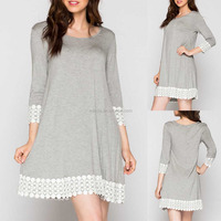 designer one piece short dress SOLID 95% RAYON 5% SPANDEX JERSEY KNIT ROUND NECK LACE CROCHET TRIM CASUAL DRESS beach kaftan