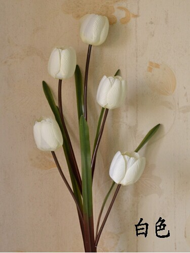 2016 wholesale fabric flower /artificial white Tulip / Factory Price Real touch Flower Mini Tulip