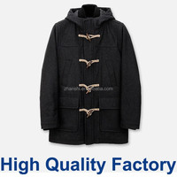High Quality Factory Wholesale Custom Clothes UK Fashion Hooded Wool Blend Duffle Coat For Men