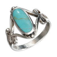 Fashion 925 Sterling Silver Jewelry Turquoise Stone Ring For Wedding OSSR0156