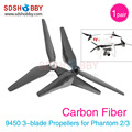 1 Pair Phantom 3 9450 Carbon Fiber Propellers Self-tighten 3-blade Props 9.4*5.0 for DJI Phantom 2/3