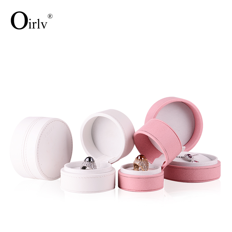 Oirlv China custom logo Pink PU leather Lovers wedding present package case round ring pendant boxes plastic Jewelry gift Box