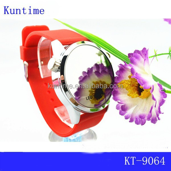 Hot sale silicone colorful sport mirror LED watch with multi-function for women