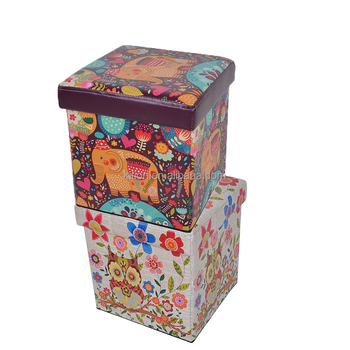 2018 Printing PVC Toy Storage Ottoman For Kids