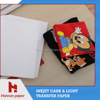 Heat press dark/light t-shirt transfer paper A3/A4/Roll size for 100% pure cotton t-shirt