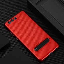 Red Color Carbon Fiber Pattern Stand TPU Back Cover For Huawei P10 Plus Mobile Phone Case Newest Hot Selling