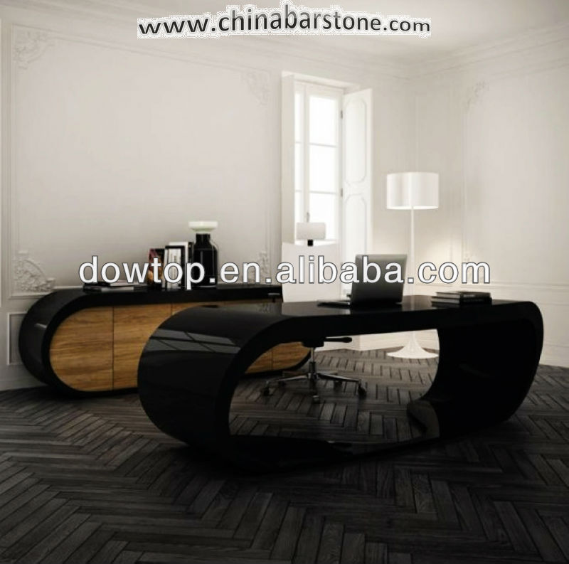 New modern elegant and Luxurious black office furniture/oval office desk design