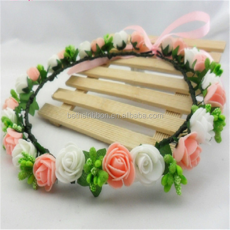 Customized Crazy Selling durable silk flower lei wreaths rose bud