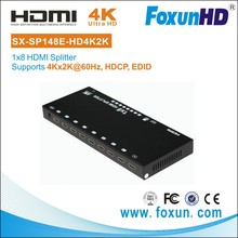 8 Ports HDMI Powered Splitter transmit upto 15m via HDMI cable HDCP1.4 YUV 4:2:0 Deep color 36bit