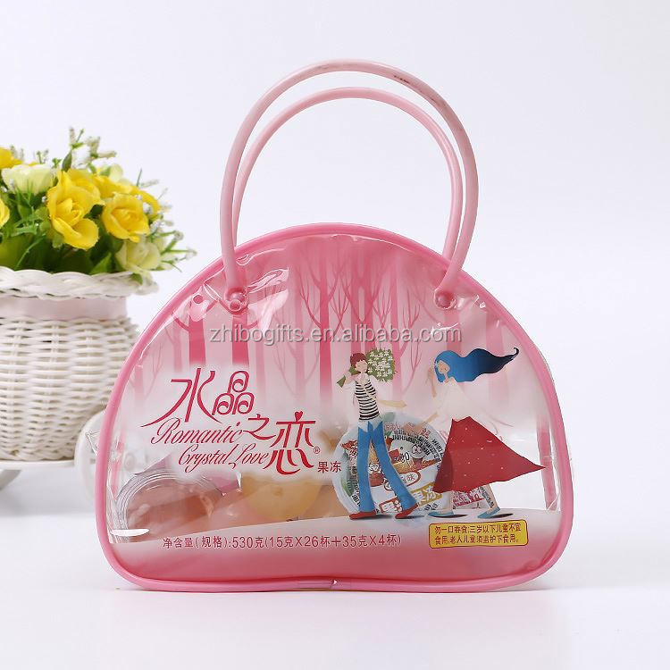 New arrival OEM quality plastic shopping bags pink cute jelly bag girls beauty bag