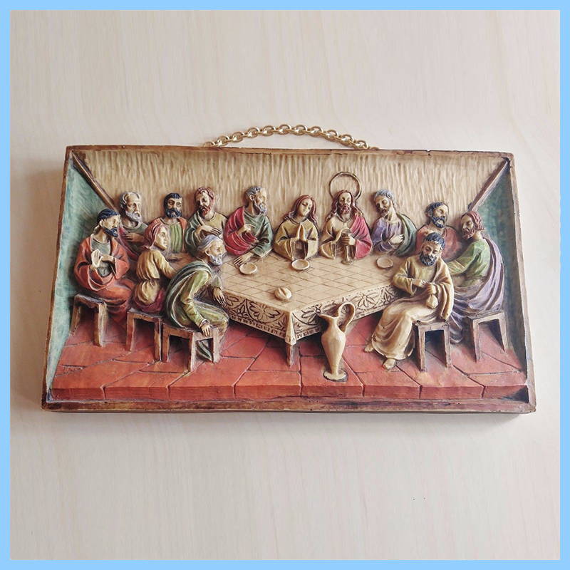 Resin Last Supper Wall Hanging Ornament, Relief Wall Ornament