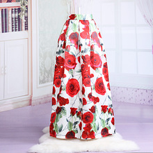 China Supplier Ladies Fashion Reversible Silk Wrap Around Flower Maxi Skirt