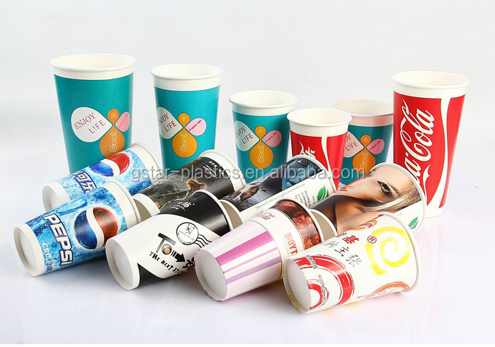 20oz 22oz 32oz Single Wall Paper Cup Cold Drink/ Double PE Coated Paper Cups for Cold Drink