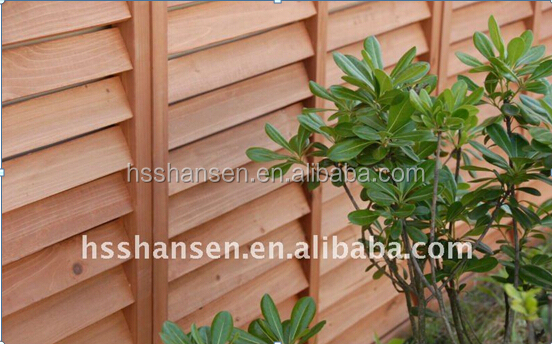 outdoor solid wooden louver fence/wooden screen fence