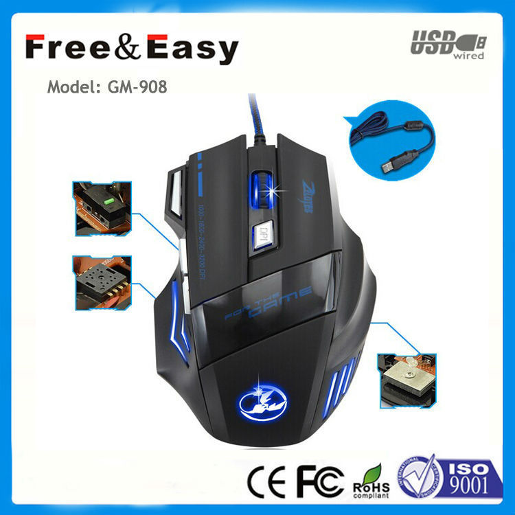New model noise less best wired led optical gaming mouse with fire button