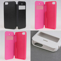 2013 New Leather Wallet Cover Case for iphone 5c with windows Flop hot sell