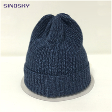 Classic Deep Blue Men's Warm Winter Hats Knit Cotton Beanie Slouchy Skull Cap