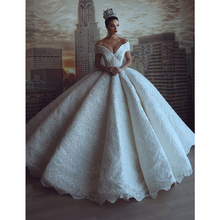 Luxury Off Shoulder Embroidery Wedding Dress Bridal Gown V Neck Beading Lace Ball Gown Dresses
