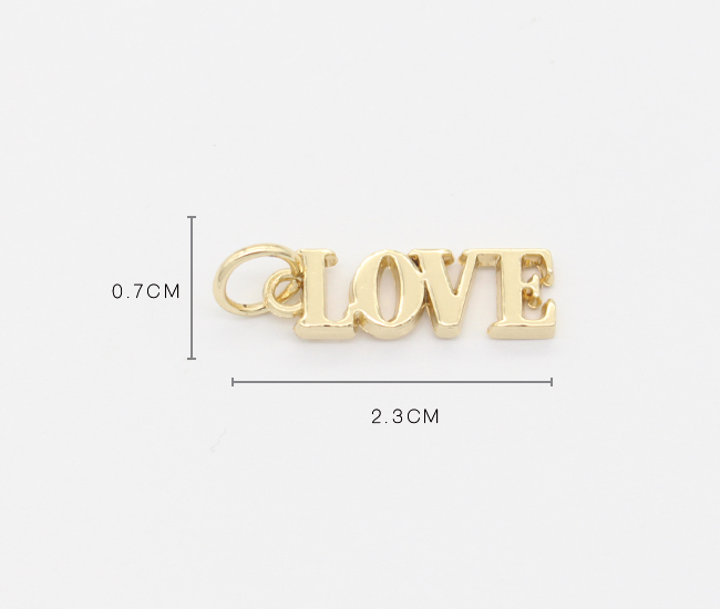 Wholesale custom design letter charms gold love alphabet pendant