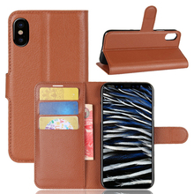 For Amazon Factory In Stock Cheap Price Litchi Pattern Cell Phone PU Leather Flip Case for iPhone X
