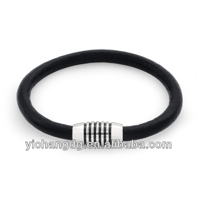 Black Leather Wide Magnetic Stainless Steel Clasp Bracelet - 7.5in