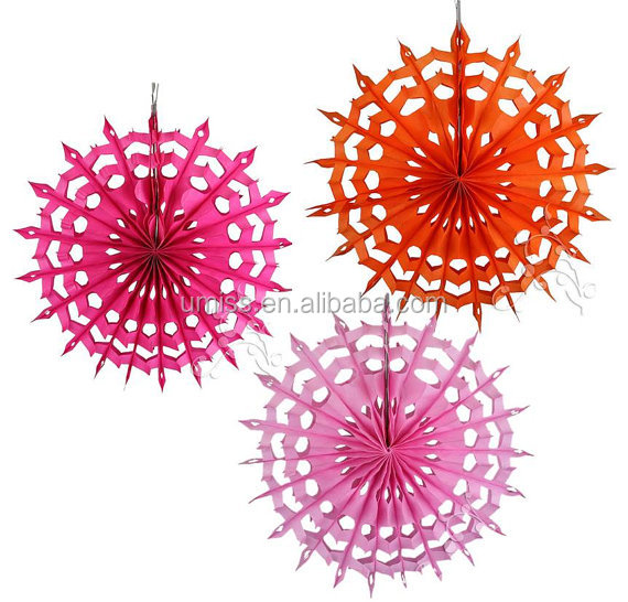 Factory Supply honeycomb 3 Fabulous colorfull tissue snowflake fans Decorations for Wedding/Birthday/Graduation/photo backdrop
