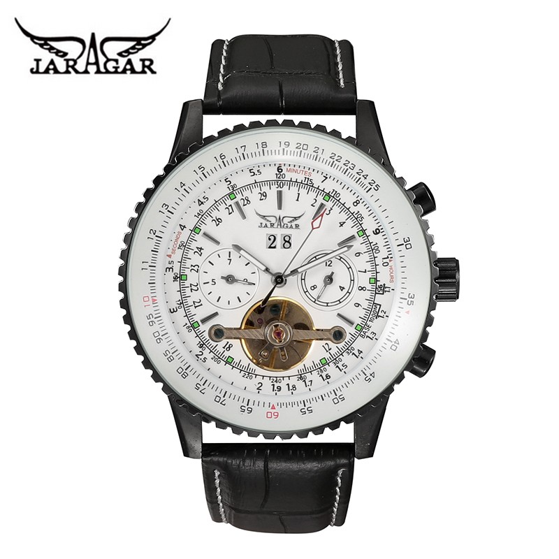 jaragar watch top famous brand automatic self wind tourbillon date week leather military mechanical best watch brands for men