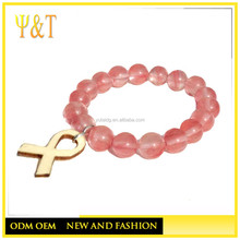 Facctory direct stainless steel cancer awareness pink bead bracelets (YC-012)
