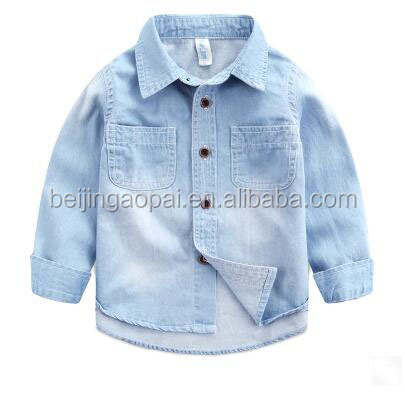 New design fashion cotton casual long sleeve boy fancy shirt jeans kids 2016