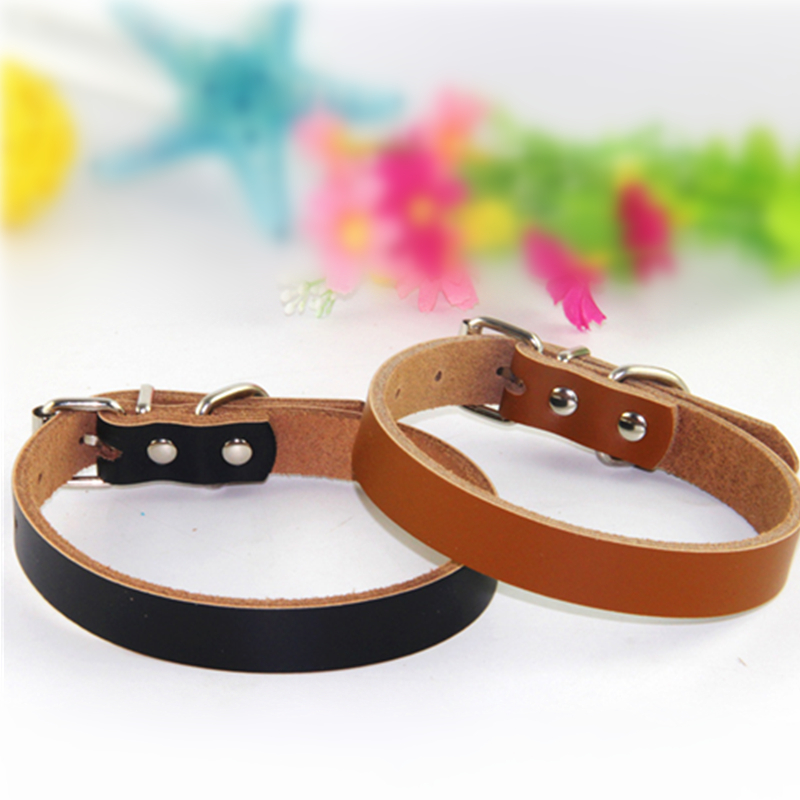 M Size 42*2.0Cm Thin Leather Dog Collar Comfortable Pet Collar